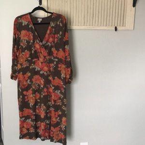 J Jill v neck dress Size Large floral fall colors
